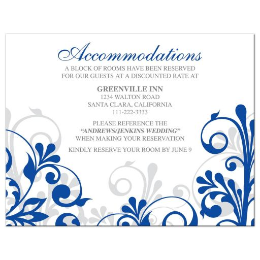 ​Elegant royal blue and white abstract floral wedding accommodations details card front