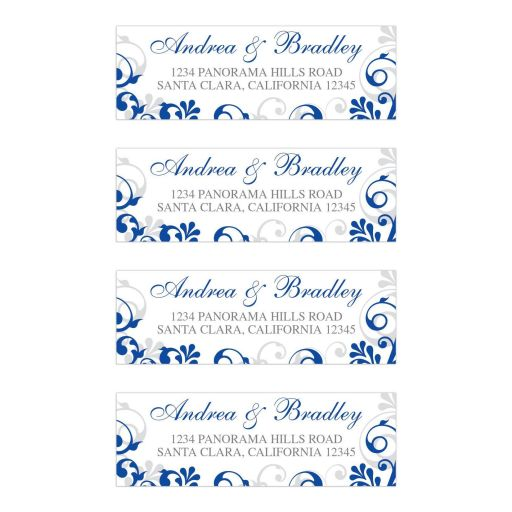 Bold royal blue floral wedding address labels