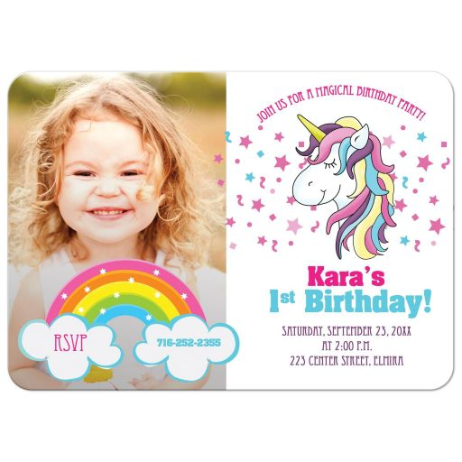 Unicorn Photo Birthday Card Invitation - Any Age!