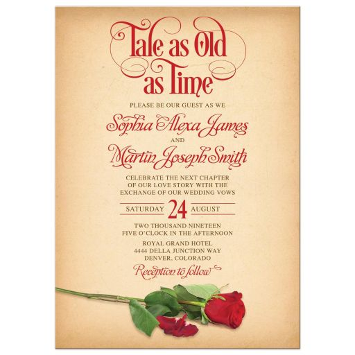 Vintage parchment beauty and the beast rose tale as old as time fairy tale wedding invitation front