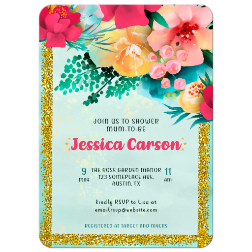 Colorful Flowers Baby Shower Invitation