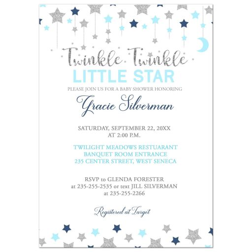 Twinkle Little Star Silver and Blue Boy Baby Shower Invitation