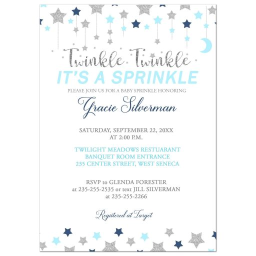 Baby Sprinkle Boy Invitation Blue and Silver Twinkle Twinkle Little Star
