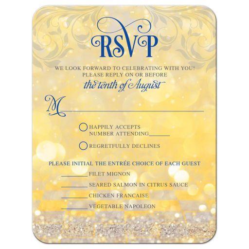 Royal blue gold magical ballroom fairy lights fairy tale wedding RSVP card front