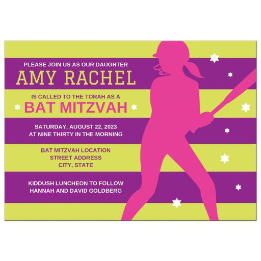 Softball bat mitzvah invitations with pink silhouette