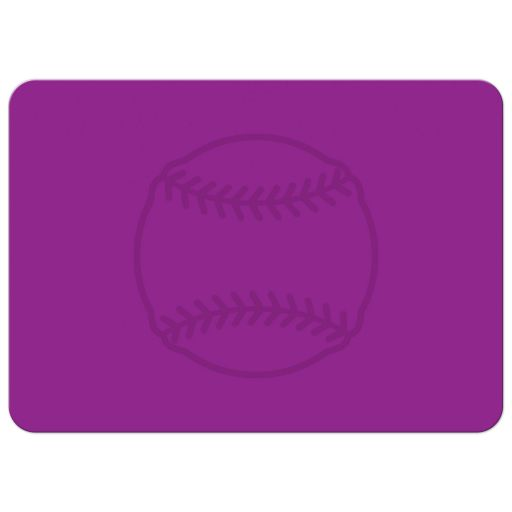 Back of softball bat mitzvah invitations with pink silhouette