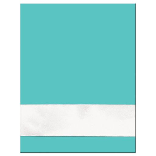 Tiffany Blue and White Wedding RSVP Cards with White Ribbon and Bow, Jewels, and Glitter.