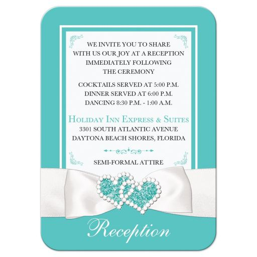 Teal Blue and White Wedding Reception and Accommodations Enclosure Card Insert with White Ribbon and Bow, Jewels, and Glitter.