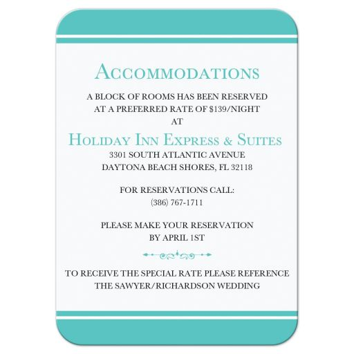 ​Tiffany Blue and White Wedding Reception and Accommodations Enclosure Card Insert with White Ribbon and Bow, Jewels, and Glitter.
