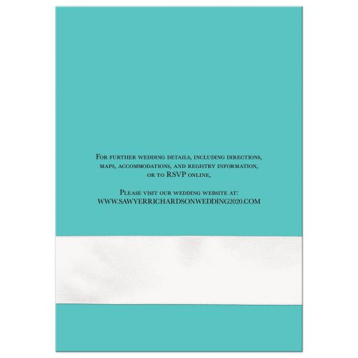 ​Tiffany Blue and White Wedding Invitation with White Ribbon and Bow, Jewels, and Glitter.