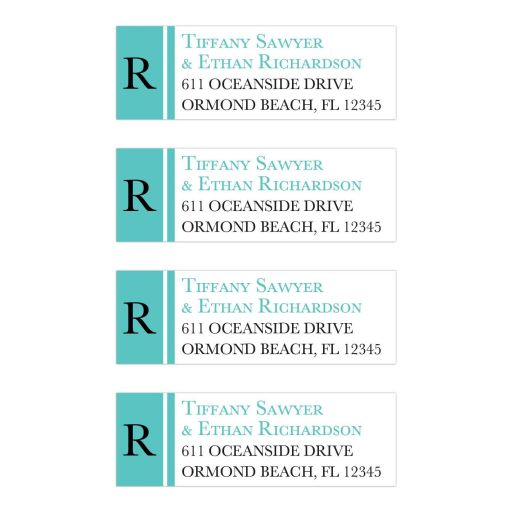 Monogram monogrammed Tiffany Blue and White Address Labels with modern teal blue and black lettering.