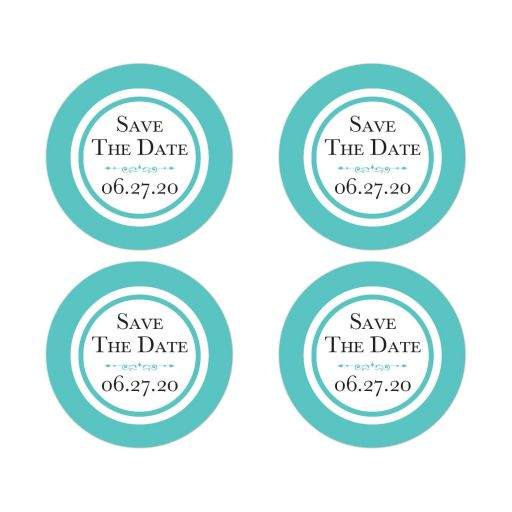 Tiffany Blue and White Wedding Save The Date Envelope Seals or wedding favor sticker with Ornate Scroll Decoration and modern black lettering.