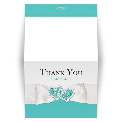 Tiffany Blue and White Wedding Thank You Card with PRINTED ON Ribbon, Bow, and Jewel and Glitter Joined Hearts.