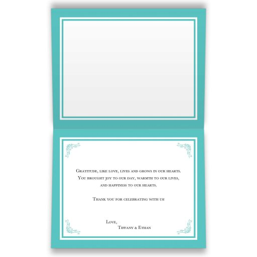 Personalized ​Tiffany Blue and White Photo Wedding Thank You Card with PRINTED ON Ribbon, Bow, Jewel and Glitter Joined Hearts, and customizable message.