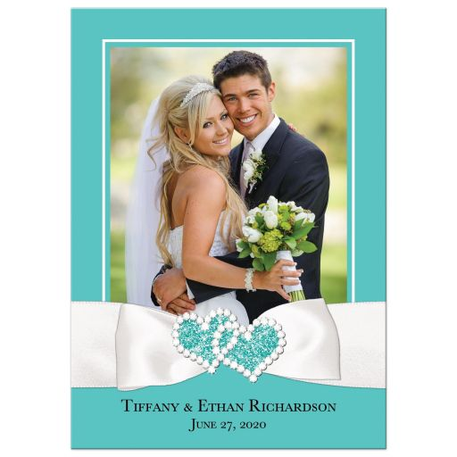 Personalized Tiffany Blue and White Photo Wedding Thank You Card with PRINTED ON Ribbon, Bow, Jewel and Glitter Joined Hearts, and customizable message.