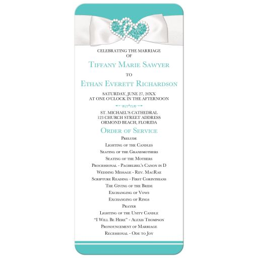 ​Tiffany Blue and White Wedding Program Order of Service with White Ribbon, Bow, and Glitter Joined Hearts.