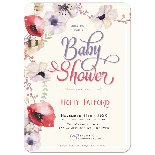Boho Poppy flower baby shower invitation
