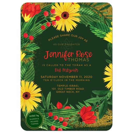 Bright Flowers Bat Mitzvah Invitation Card Set