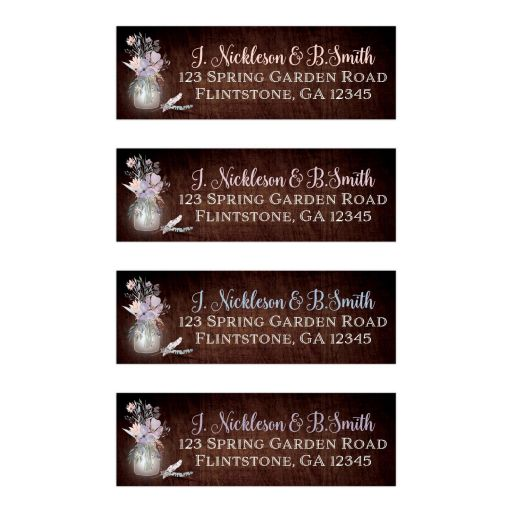 ​Rustic wood look wedding return address mailing labels with mason jar, purple and peach flowers, feathers and wood grain.