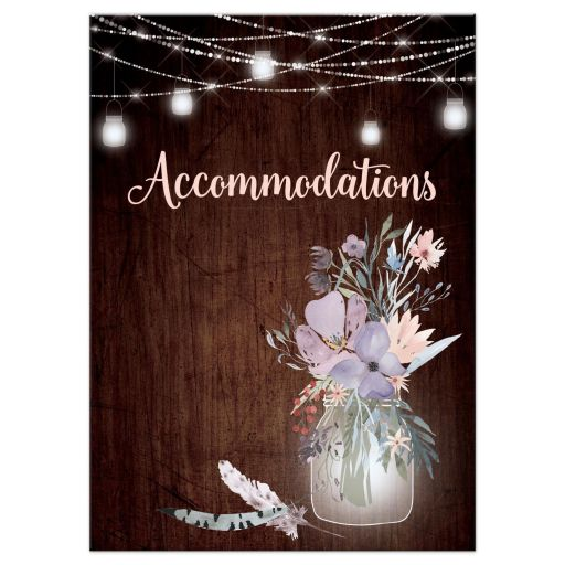 ​Best rustic wedding accommodations enclosure card insert with brown wood, mason jars, string lights and purple, pink, blue, peach and green flowers, foliage, and feathers for a barn or country wedding.