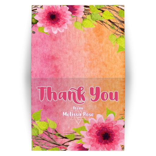 Pink Flowers on Orange Pink Watercolor Bat Mitzvah Thank You