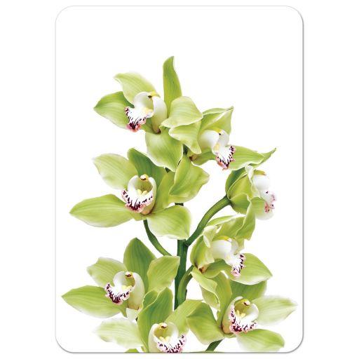 Burgundy and green cymbidium orchid wedding invitation back