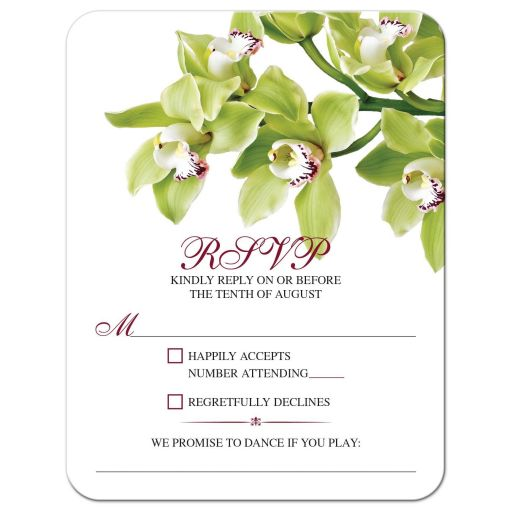 Burgundy and green cymbidium orchid wedding RSVP card front