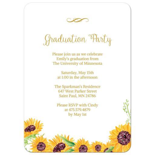 Sunflower Photo Graduation Party Invitation
