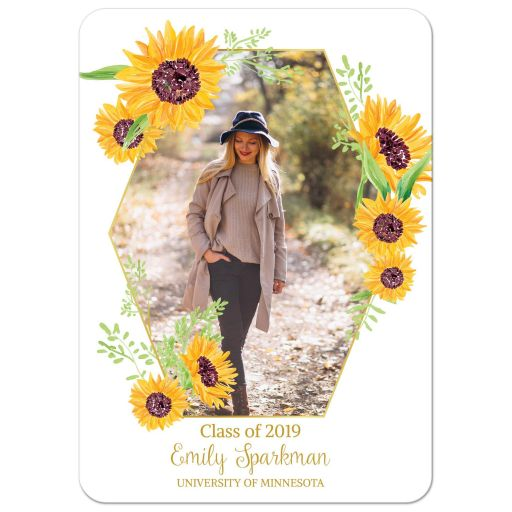 Sunflower Photo Graduation Announcement
