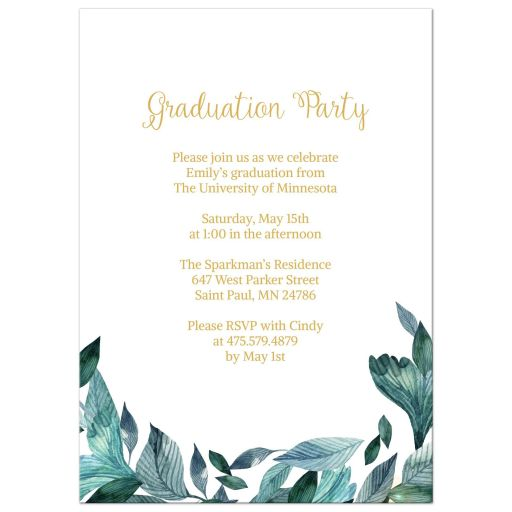 Blue Watercolor Leaves Graduation Party Invitation