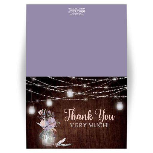 ​Personalized rustic brown wood, mason jars, string lights and purple, pink, blue, peach and green flowers, foliage, and feathers wedding thank you card for a barn or country wedding with a photo template.