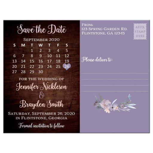 Best rustic wedding save the date card with brown wood, mason jars, string lights and purple, pink, blue, peach and green flowers, foliage, and feathers for a barn or country wedding.