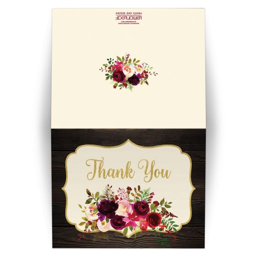Rustic wood bridal shower thank you card in burgundy, aubergine purple, red, pink, green, and ivory watercolor flowers and orange and purple feathers for an elegant autumn or fall wedding.