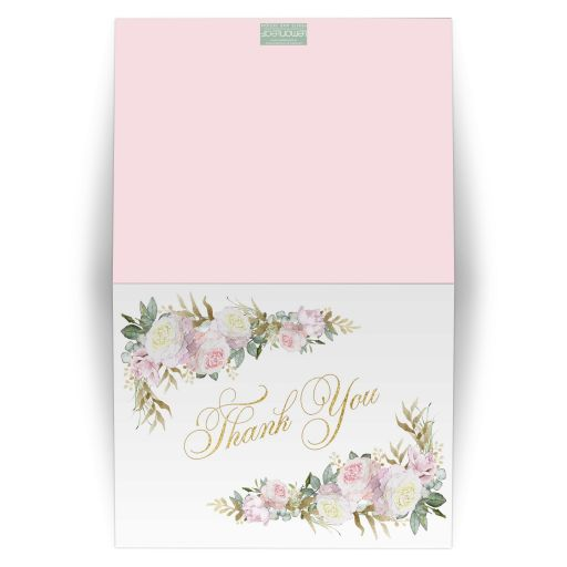 Elegant blush pink, gold, white, and purple roses and lilacs thank you card with butterflies, and faux gold foil.