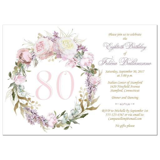 ​blush pink, gold, white, purple roses and lilacs 80th birthday party invitation with round wreath and decorative scroll with faux gold foil.