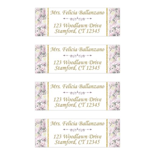 Personalized return address mailing labels with borders in blush pink, mauve, creamy yellow roses with pale purple lilacs and a mix of gold, teal, and green foliage and leaves with gold writing and a decorative purple scroll.