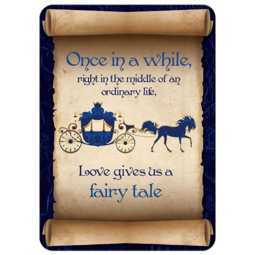 Fairy tale wedding invitation in navy and royal blue with horse drawn carriage, scrolled paper, flourishes, and scrolls.