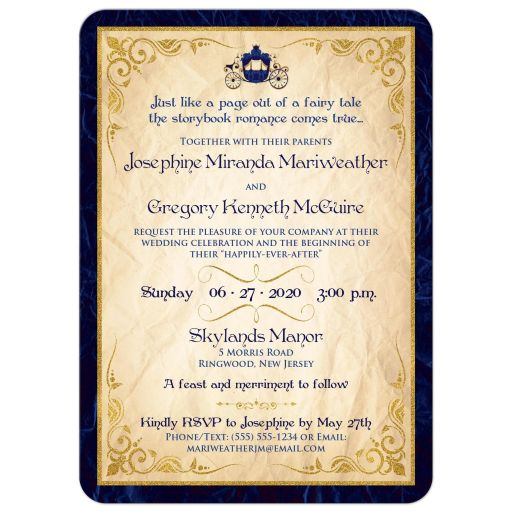 Fairy tale wedding invites in navy and royal blue with horse drawn carriage, scrolled paper, flourishes, and scrolls.