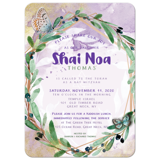 Watercolor Olive leaves wreath Bat Mitzvah Invitations