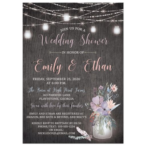 Mason jars, string lights wedding shower or bridal shower invitation on gray wood grain with purple, pink, blue, peach and green flowers, foliage, and feathers.