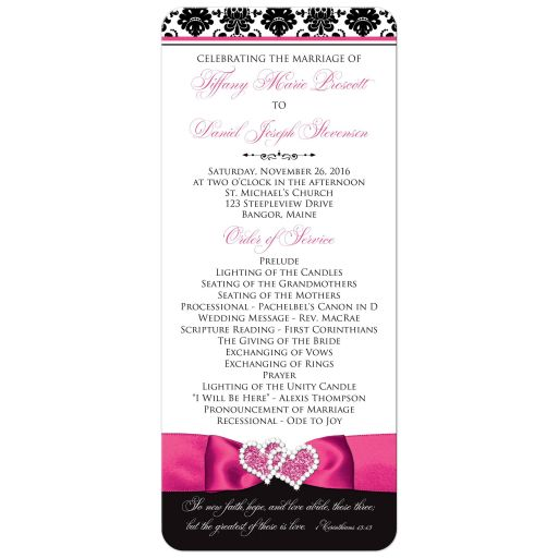 Hot pink, black, and white damask pattern wedding program or order of service with ribbon, bow, scroll, and jeweled joined hearts buckle brooch.