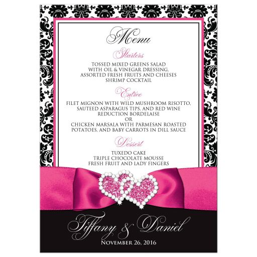 Hot pink, black, and white damask pattern wedding menu and reception program with ribbon, bow, scroll, and jeweled joined hearts buckle brooch.