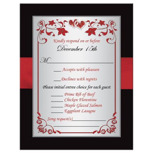 Black, red, and silver gray floral wedding RSVP enclosure card with ribbon, glitter, jewels, hearts.