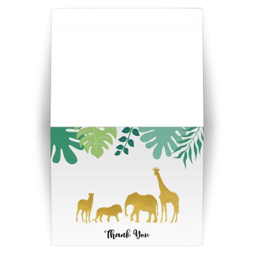 Gold Jungle Safari Folded Thank you card