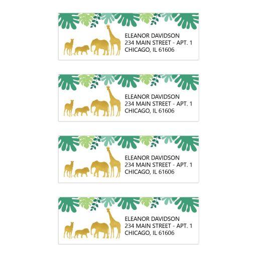 Gold Safari Animals Return Address Labels