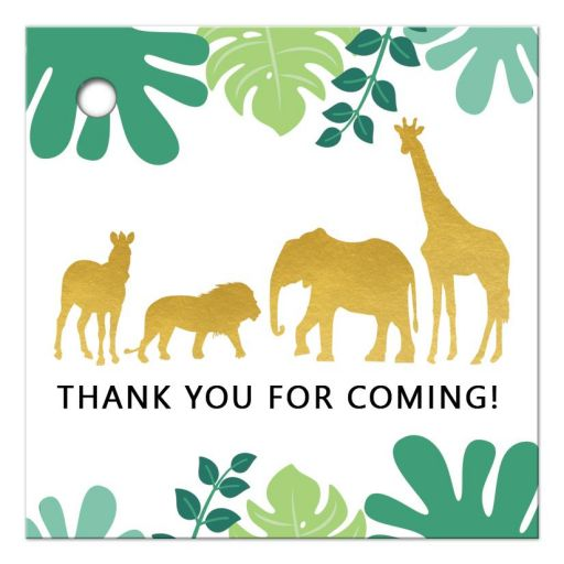 Gold Safari Animals Jungle Favor Gift Tag