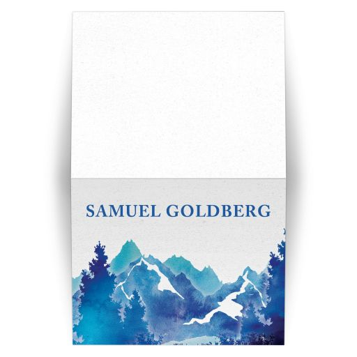 Royal blue and teal watercolor outdoor nature mountain personalized Bar Mitzvah folded thank you card