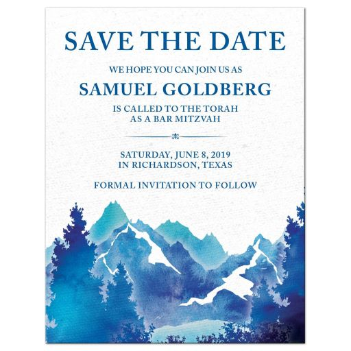 Royal blue and teal watercolor outdoor nature mountain Bar Mitzvah save the date announcement