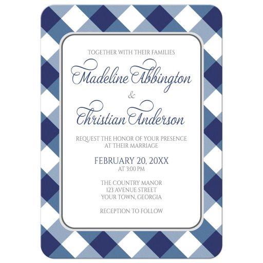 Wedding Invitations - Navy Blue Gingham White Gray