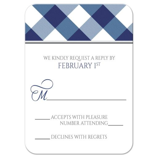 RSVP Cards - Navy Blue Gingham White Gray